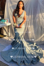 Deep V-Neck Sleeveless Long Solid Stretch Mermaid Prom Dress with Court Train