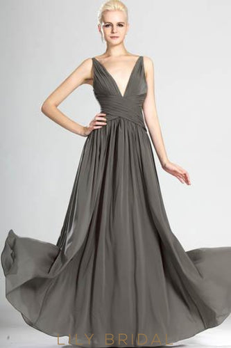 Deep V-Neck Spaghetti Strap A-Line Floor-Length Chiffon Evening Dress With Ruched Bodice