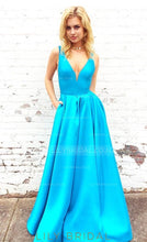 Deep V-Neck Taffeta Floor-Length Prom Dress With Pockets