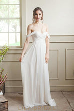 Chiffon Wedding Dress Off-The-Shoulder Design Flowy A-Line Chiffon Skirt