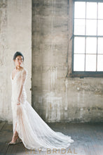 Illusion A-Line Wedding Dress with Long Sleeves Illusion Plunging V-Neck