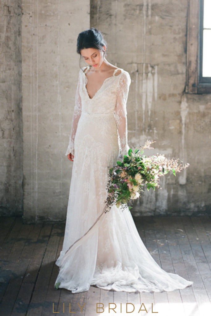 Destination Illusion A-Line Wedding Dress with Long Sleeves Illusion Plunging V-Neck