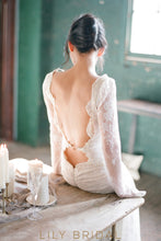 Destination Illusion Wedding Dress with Long Sleeves Illusion Plunging V-Neck