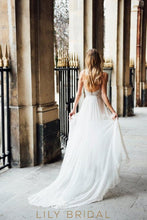 A-Line Destination Ivory Lace Wedding Dress with Deep Open Back