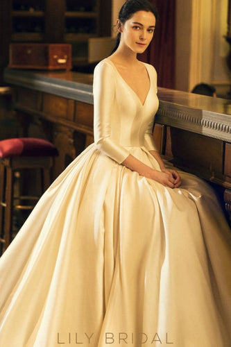 Satin Ball Gown V-neck Wedding Dress