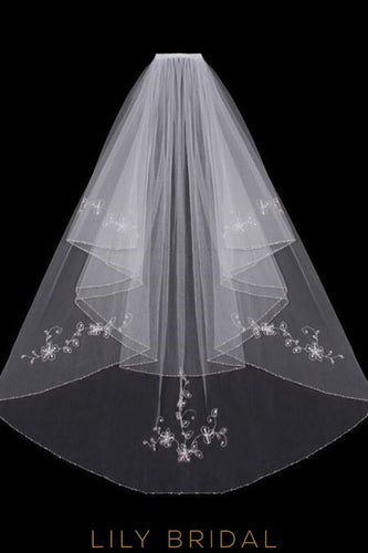 Fashion Double Layer Wedding Veil with Crystal Beaded