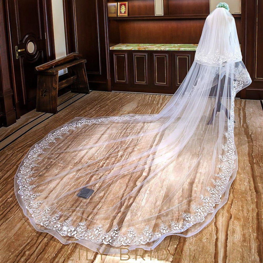 Two Tier Curly Edge Cathedral Wedding Veil with Delicate Embroidery Motif