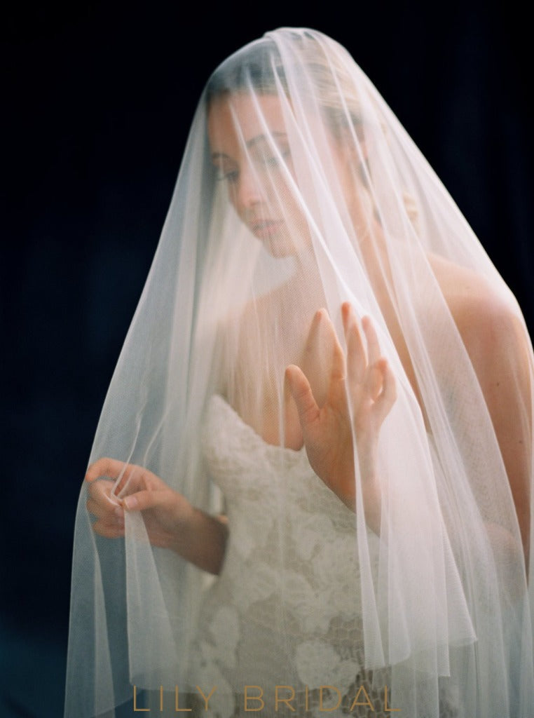 silk effect bridal veil