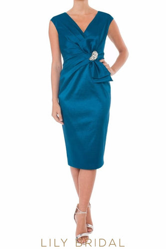 Blue Satin V-Neckline Sleeveless Tea Length Mother of the Bride Dress With Brooch