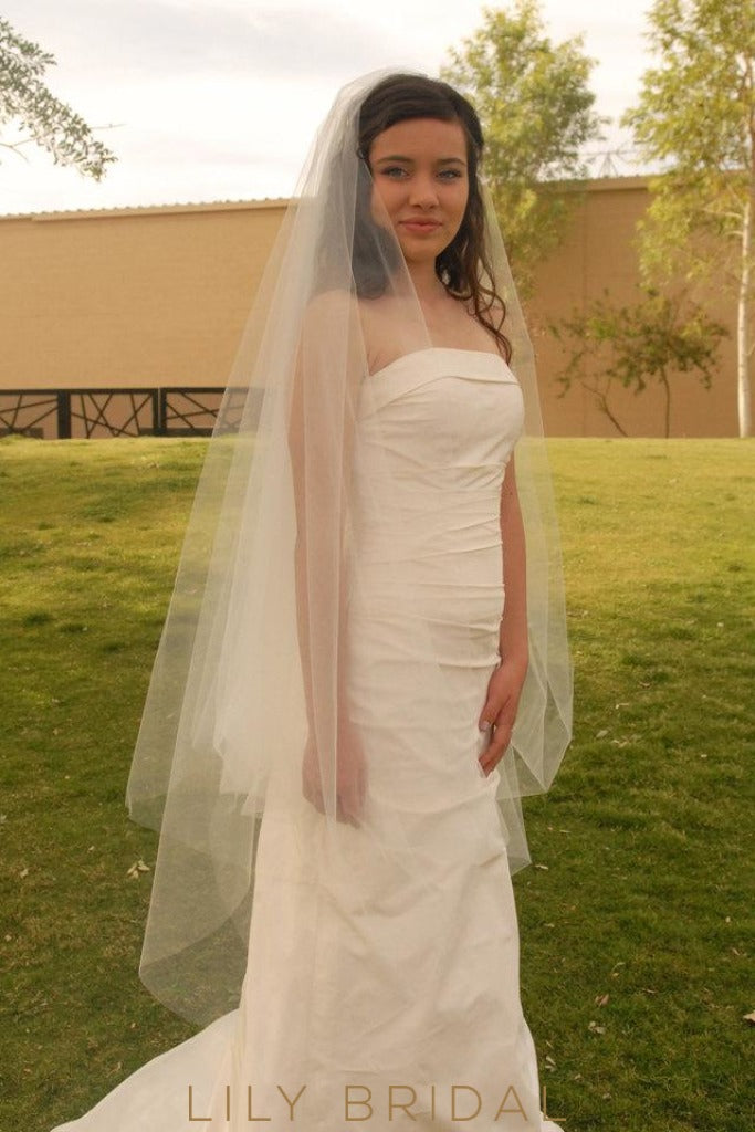 Hip Length Veil in Silk Effect Tulle
