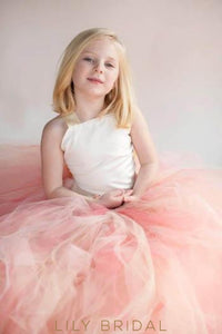 Drop Waist Ball Gown Tulle Flower Girl Dress With Ribbon