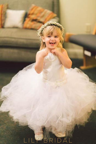 Drop Waist Satin Tulle Floor-Length Ball Gown Flower Girl Dress