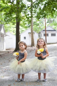 Drop Waist Strap Knee-Length Ball Gown Flower Girl Dress With Layers
