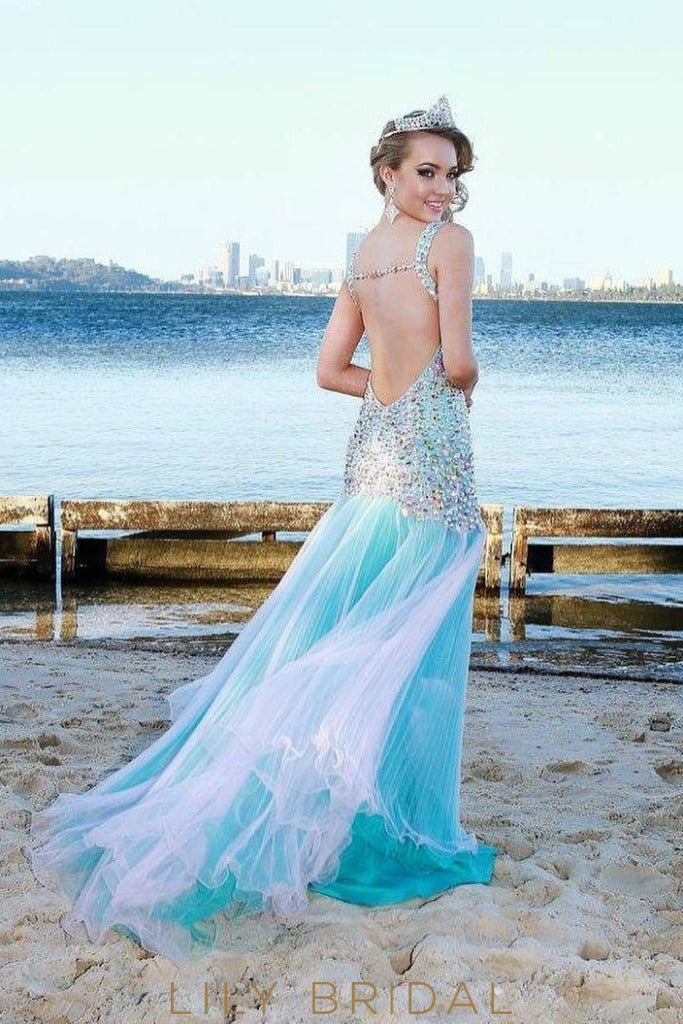 Sexy Dropped Waist Colorful Beaded Blue Prom Dress Trumpet