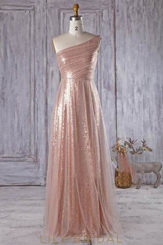 Dusty Rose One-Shoulder Sequin Floor-Length Bridesmaid Dress With Tulle