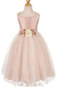 Dusty Rose Square Neckline Chiffon Tulle Flower Girl Dress With Hand-Made Flowers Dresses
