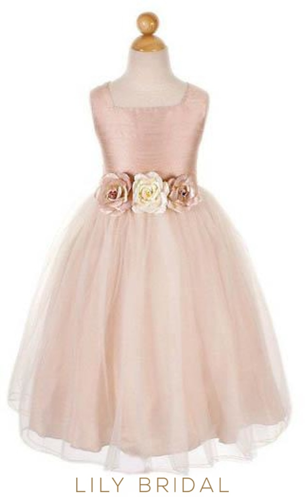 Dusty Rose Square Neckline Chiffon Tulle Flower Girl Dress With Hand-Made Flowers
