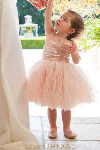 Dusty Rose Strap Knee-Length Tulle Ball Gown Flower Girl Dress