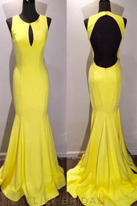 Elastic Woven Satin Open Back Jewel Neck Sweep Train Evening Dress