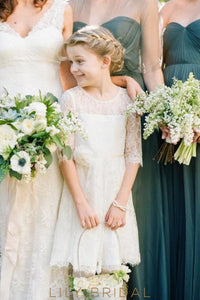 1/2 Sleeve Jewel A-Line Knee-Length Ivory Illusion Lace Flower Girl Dress