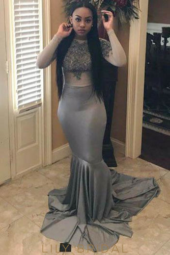 9fbd0179bf Applique Bateau Neck Long Sleeves Solid Mermaid Prom Dress With Sweep Train