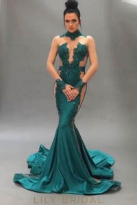 Elegant Applique Illusion High Neck Long Sleeves Long Solid Mermaid Prom Dress