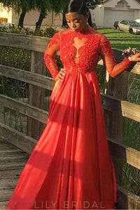 Applique Illusion High Neck Long Sleeves Long Solid Prom Dress with Sweep Train