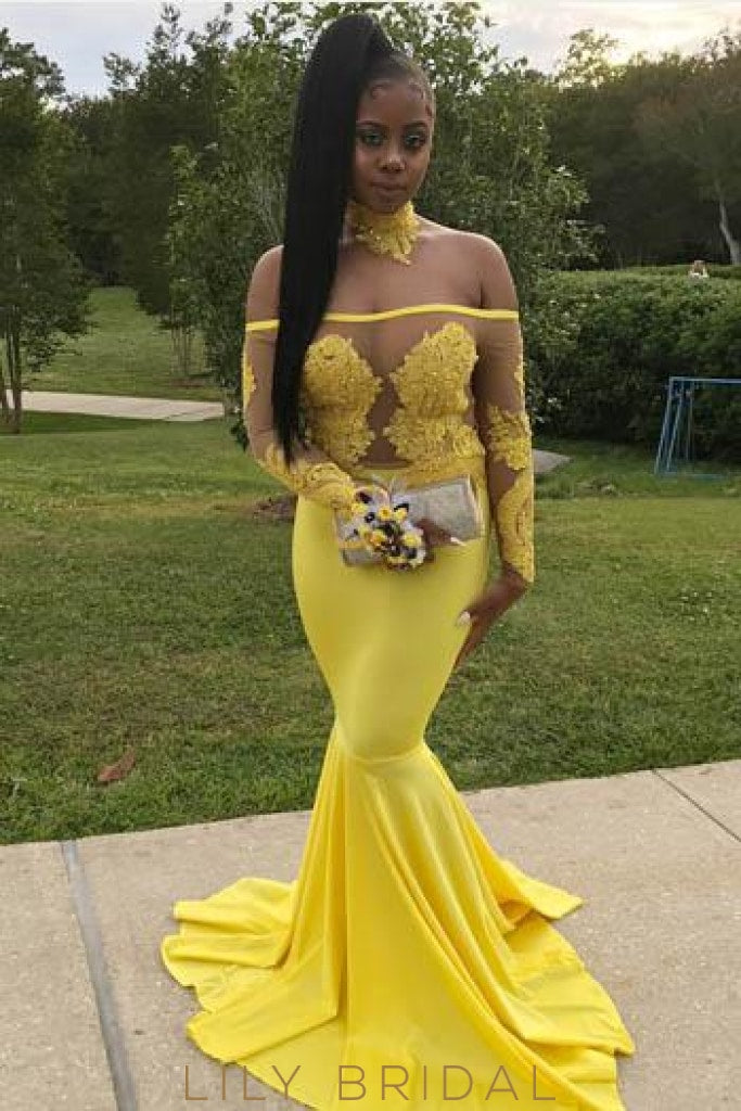 3032e199dae5 Applique Illusion Off Shoulder Long Sleeves Mermaid Prom Dress with Sweep  Train