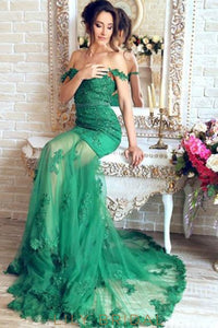 Applique Illusion Off Shoulder Long Solid Mermaid Evening Dress With Court Train