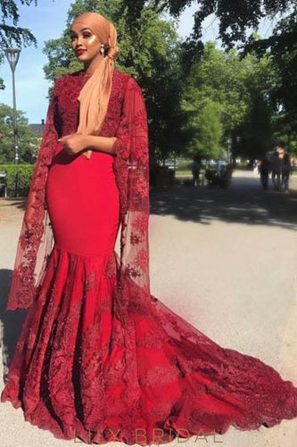 Elegant Applique Illusion Scoop Neck Long Sleeves Long Solid Mermaid Prom Dress