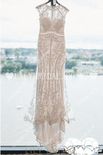 Applique Lace Illusion Scoop Neck Cap Sleeves Zipper-Up Long Mermaid Wedding Dress