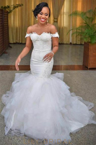 Elegant Applique Off Shoulder Lace-Up Long Solid Stretch Mermaid Wedding Gown