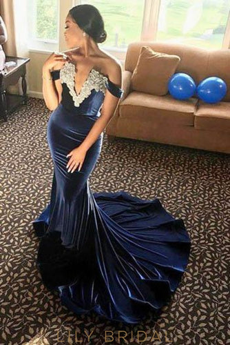 Applique Off Shoulder Long Solid Stretch Mermaid Evening Dress with Court Train