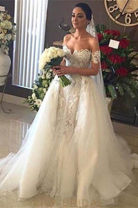 Beaded Lace Off Shoulder Short Sleeves Long Tulle Wedding Gown with Sweep Train