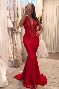 Beading Deep V-Neck Sleeveless Long Solid Mermaid Prom Dress with Sweep Train