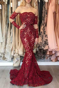 Elegant Beading Lace Off Shoulder Long Sleeves Solid Mermaid Prom Dress