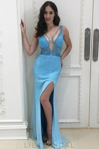 Elegant Beading Plunge Neck Sleeveless Backless Long Solid Sheath Evening Dress