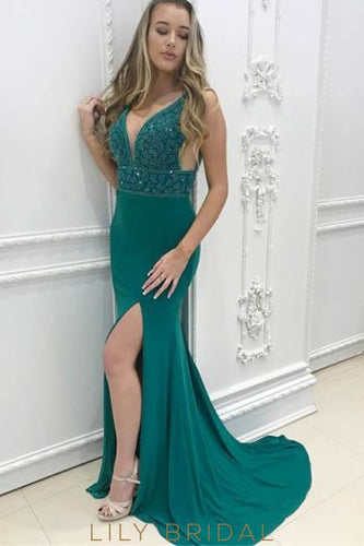 Beading Plunge Neck Sleeveless Long Solid Mermaid Evening Dress with Sweep Train