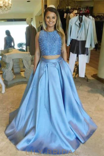 Beading Scoop Neck Sleeveless Two Piece Long Solid Prom Dresses with Sweep Train