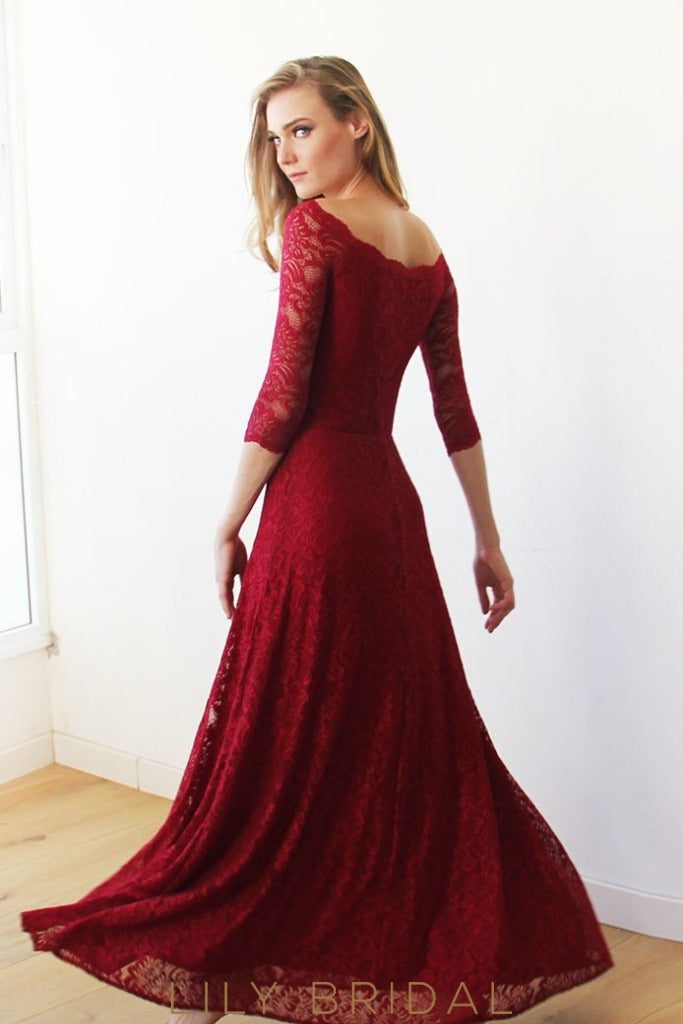 Elegant Off-The-Shoulder Sheathe Lace Bridesmaid Dress