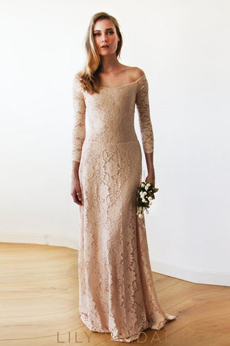 Elegant Blush Pink Lace Quarter Sleeves A-line Bridesmaid Dress