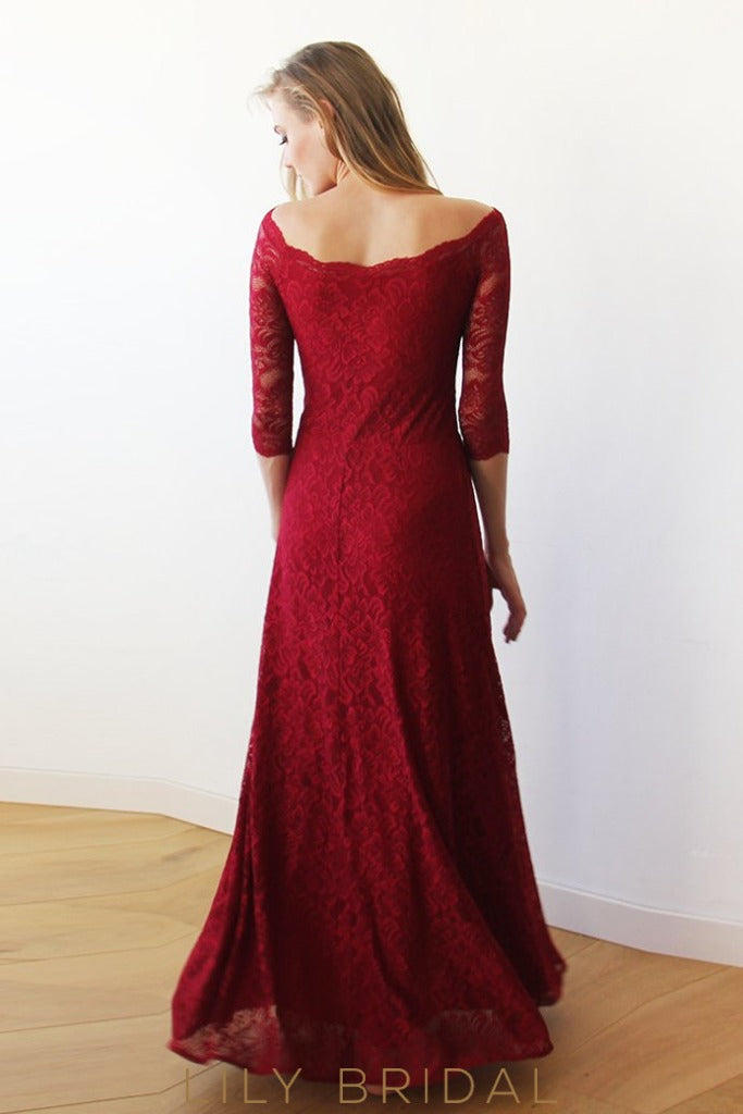 Elegant Off-The-Shoulder 3/4 Sleeve  Lace Bridesmaid Dress