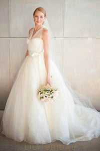 Bow-knot Sheer V-Neck Sleeveless Long Solid Tulle Wedding Gown with Brush Train