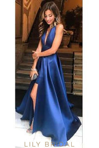 Elegant Halter Neck Sleeveless Backless Long Solid Slit Evening Dress with Sweep Train