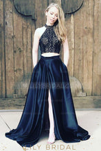 High Neck Sleeveless Two Piece Long Solid Slit Evening Dresses with Sweep Train