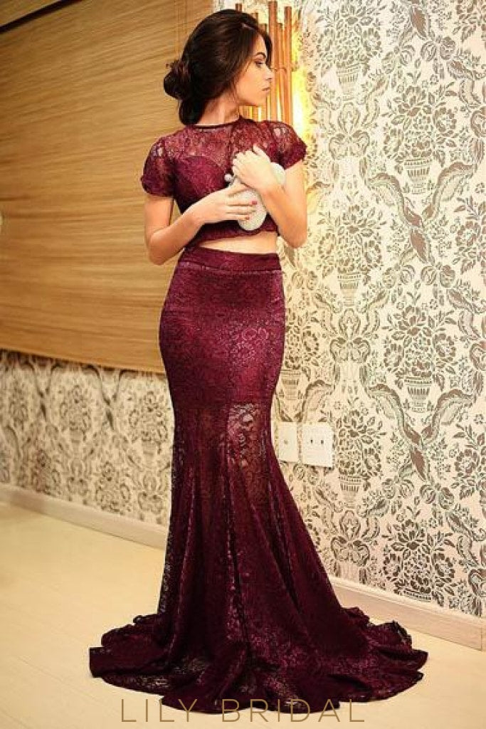 Elegant Lace Illusion Bateau Neck Short Sleeves Two Piece Long Mermaid Prom Dresses