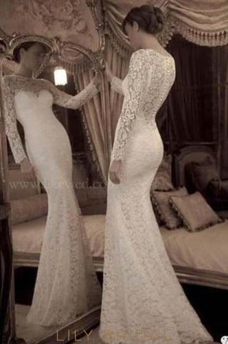 Elegant Lace Illusion Bateau Neck Long Sleeves Long Solid Wedding Dress