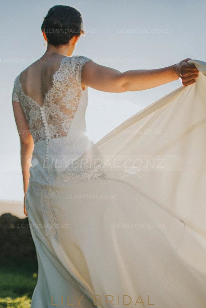 Elegant Lace Illusion Scalloped Edge Neck Cap Sleeves Long Boho Wedding Dress