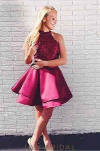 Elegant Lace Jewel Neck Sleeveless Short Solid Satin Burgundy Cocktail Dress