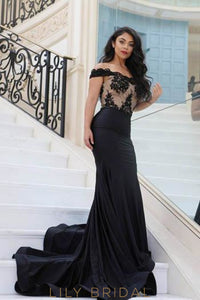 Elegant Lace Off Shoulder Long Solid Stretch Mermaid Evening Dress with Sweep Train